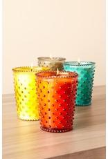 Simpatico Hobnail Glass Candle Coral