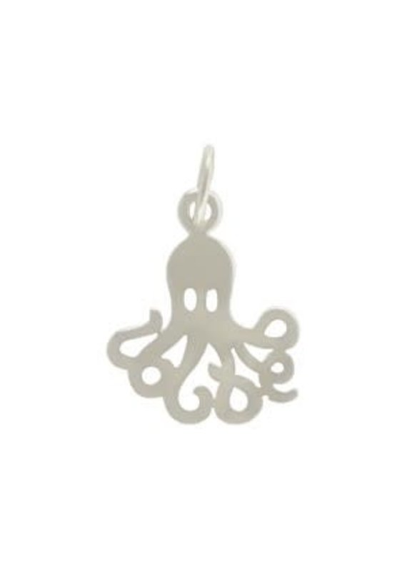 Sterling Silver Flat Octopus Charm