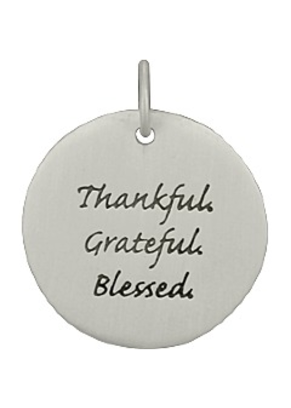 Sterling Silver Thankful Grateful Blessed Charm