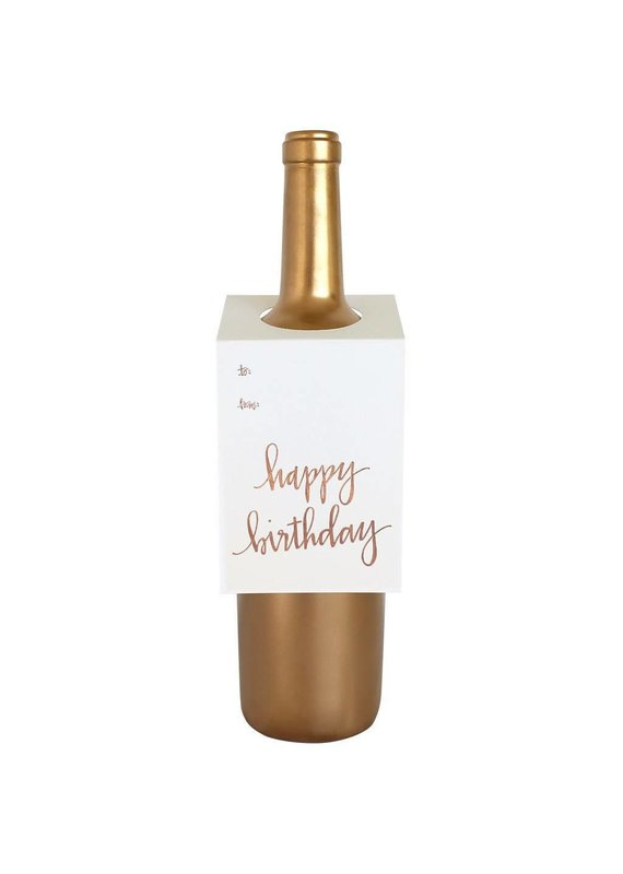 Chez Gagné Happy Birthday Script Wine & Spirit Tag