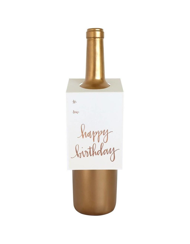Chez Gagné Happy Birthday Script Wine & Spirit Tag