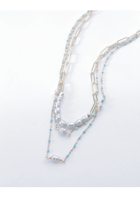 Nakamol Turquoise Pearl Mix Layered Necklace