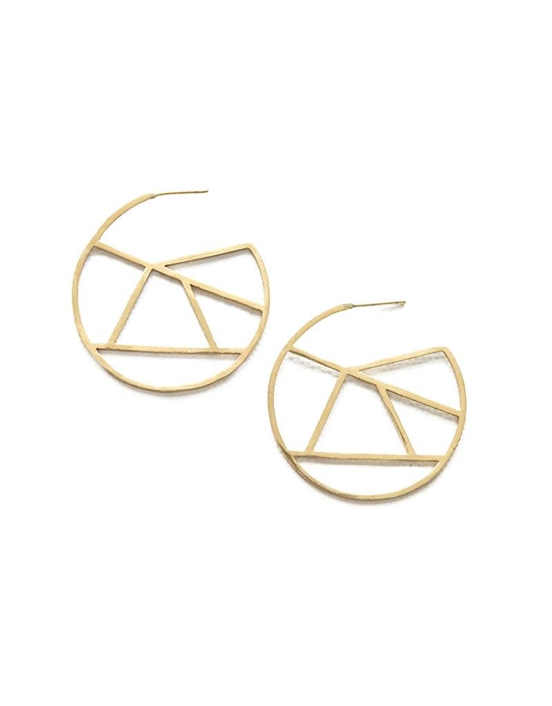 Ink + Alloy Small Stained Glass Circle Brass Earring