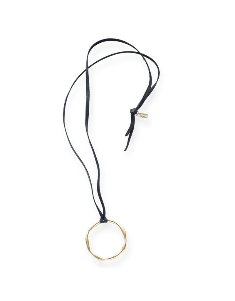 Ink + Alloy Organic Circle On Black Leather Brass Necklace