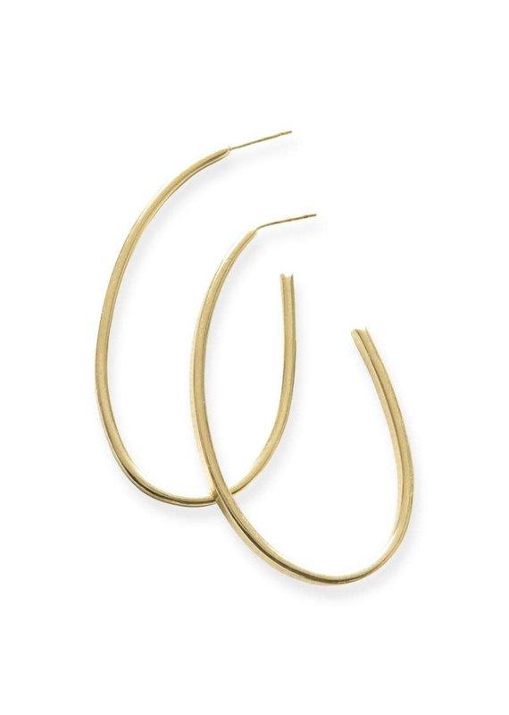 Ink + Alloy Thin Oval Hoop Brass Earring