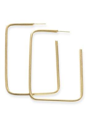 Ink + Alloy Thin Rectangle Hoop Brass Earring