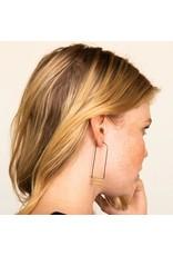 Ink + Alloy Elongated Hoop w Brass Bar Design Earring