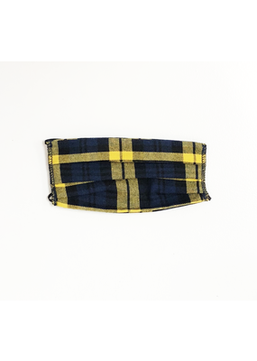 Lost + Wander Blue & Yellow & Black Plaid Face Mask
