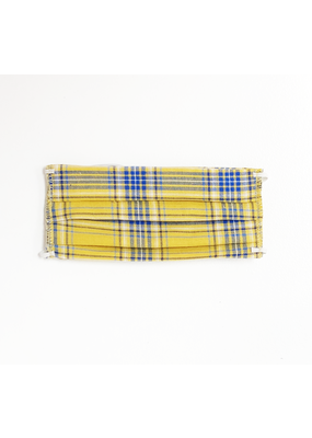 Lost + Wander Blue & Yellow & White Plaid Face Mask