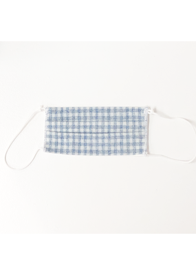 Lost + Wander Rustic Blue Adjustable Plaid Kids Face Mask