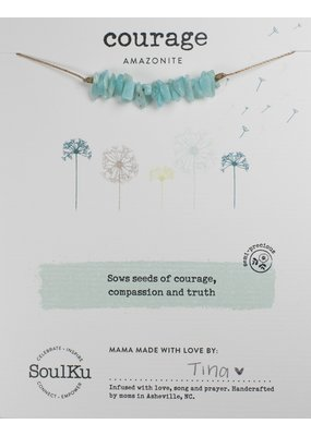SoulKu Amazonite Gemstone Seed Courage Necklace