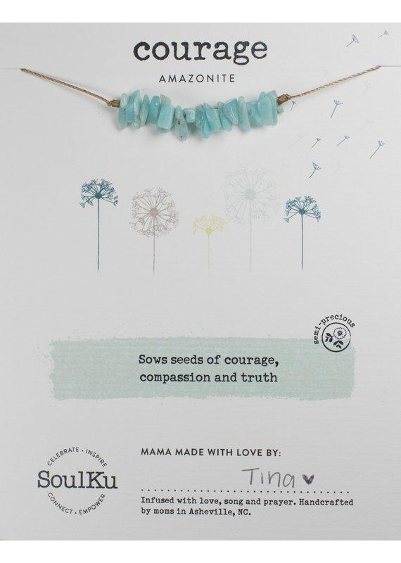 SoulKu Amazonite Gemstone Seed Courage Necklace