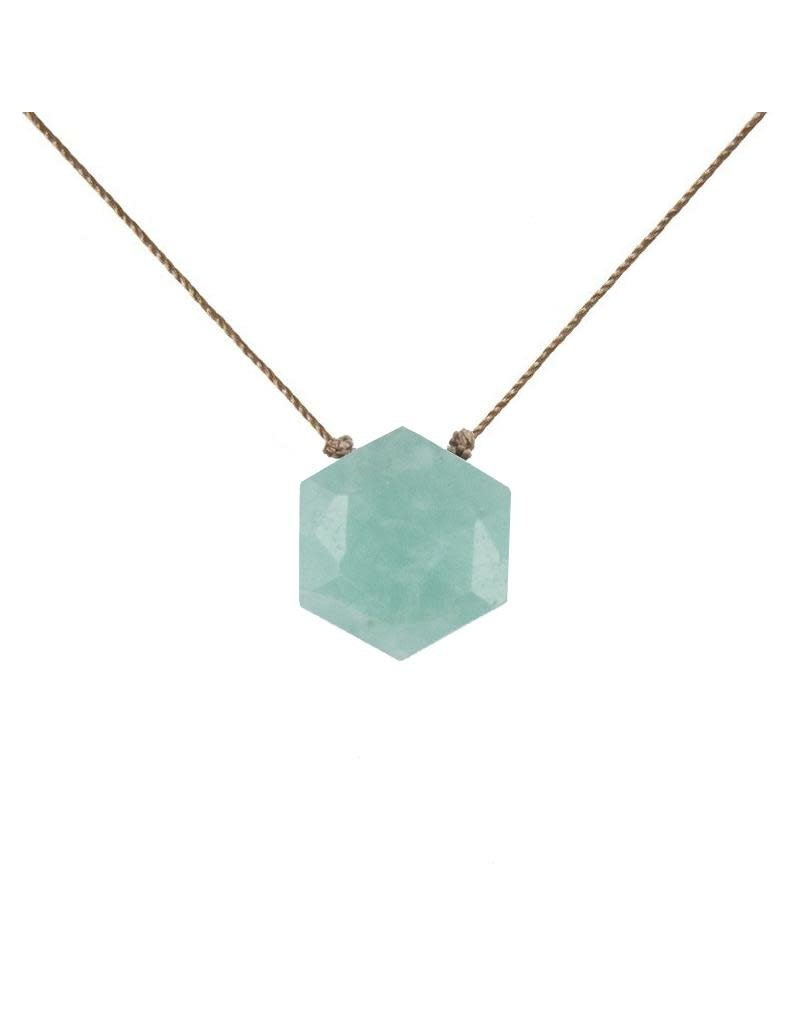 SoulKu Amazonite Gemstone Sacred Geometry Courage Necklace