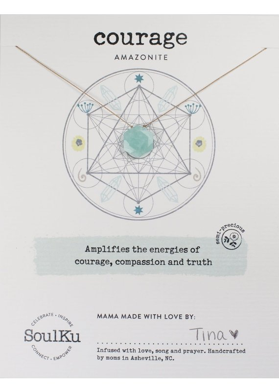 SoulKu Amazonite Gemstone Sacred Geometry Courage Necklace