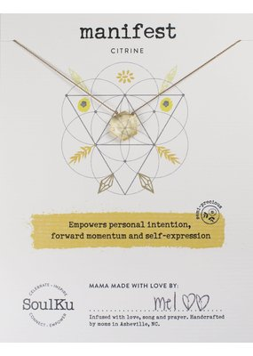 SoulKu Citrine Gemstone Sacred Geometry Manifest Necklace
