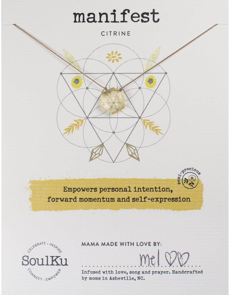 SoulKu Citrine Gemstone Sacred Geometry Manifest Necklace