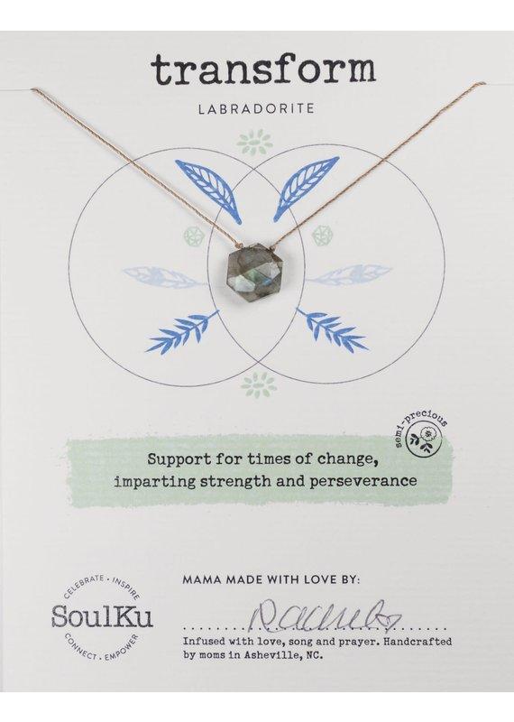 SoulKu Labradorite Gemstone Sacred Geometry Transform Necklace