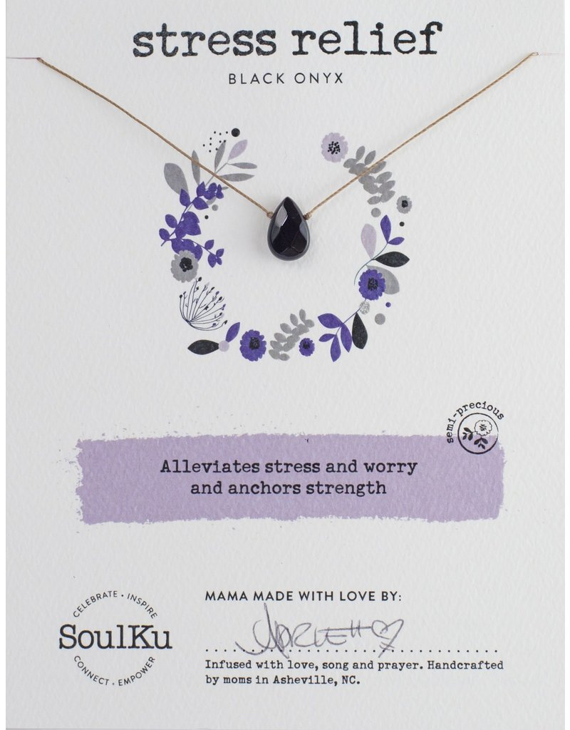 SoulKu Black Onyx Luxe Soul-Full Stress Relief Necklace