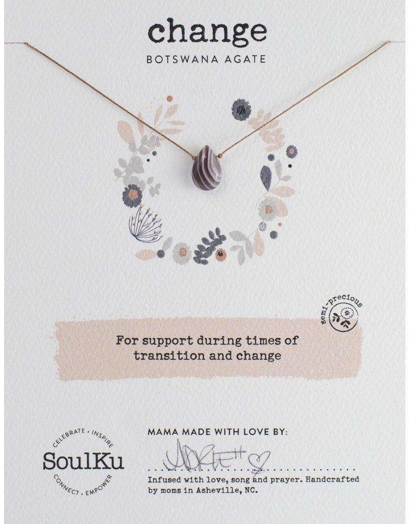 SoulKu Botswana Agate Gem Soul-Full of Light Change Necklace
