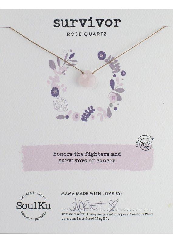 SoulKu Rose Quartz Soul-Full Survivor Necklace