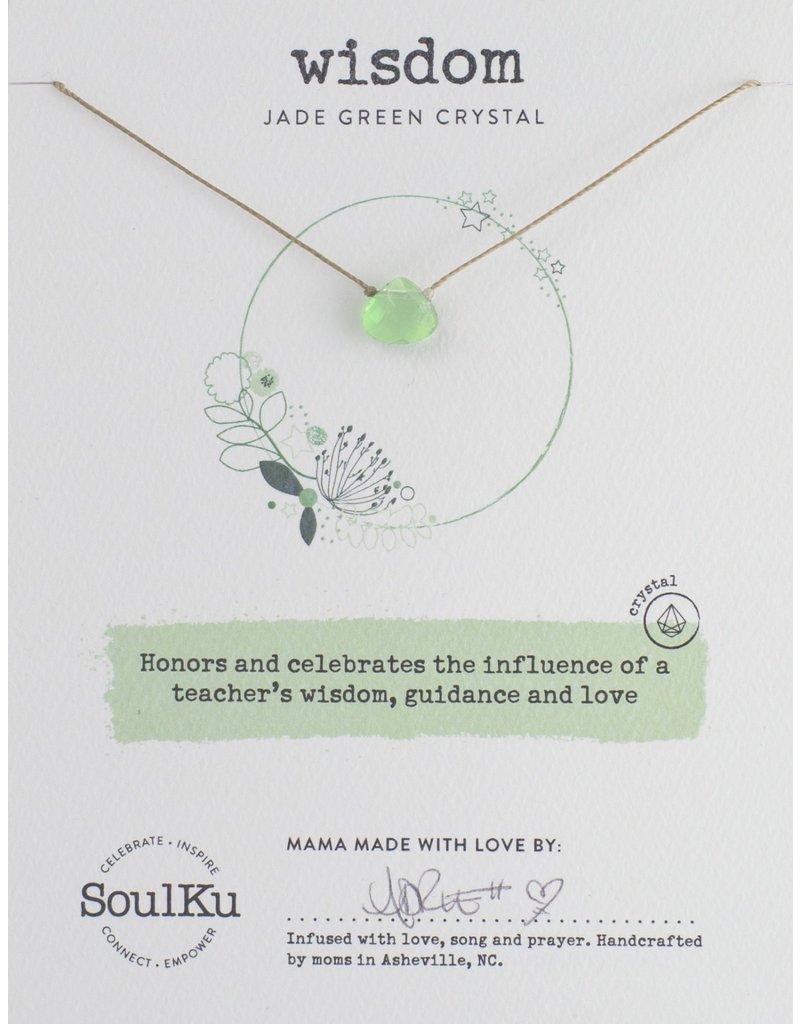 SoulKu Jade Green Crystal Soul Shine Wisdom Necklace