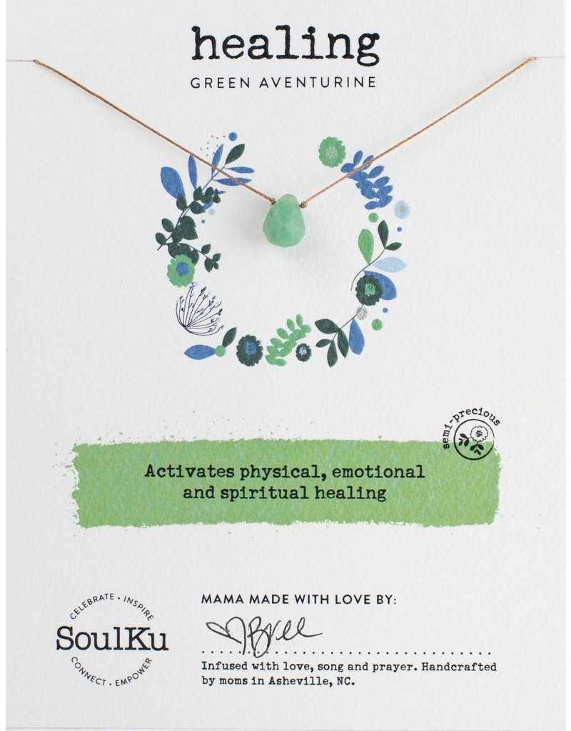 SoulKu Green Aventurine Gem Soul-Full of Light Healing Necklace