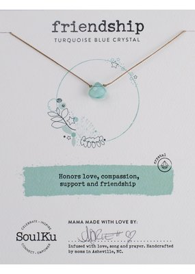 SoulKu Turquoise Blue Crystal Soul Shine Friendship Necklace