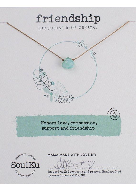 SoulKu Turquoise Blue Crystal Soul Shine Friendship Necklace