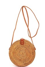 Street Level Handmade Natural Woven Basket Round Crossbody Bag