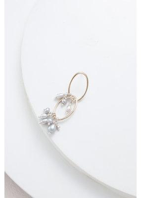 Nakamol Gold Dangle Earring w Double Link & Grey Pearls