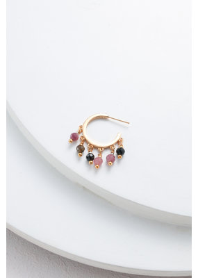 Nakamol Gold Hoop w Purple Drop Beading