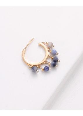 Nakamol Gold Hoops w Blue Drop Beading