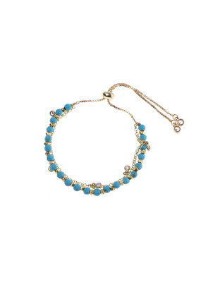 Nakamol Turquoise & Gold Pull Bracelet w Clear Crystal