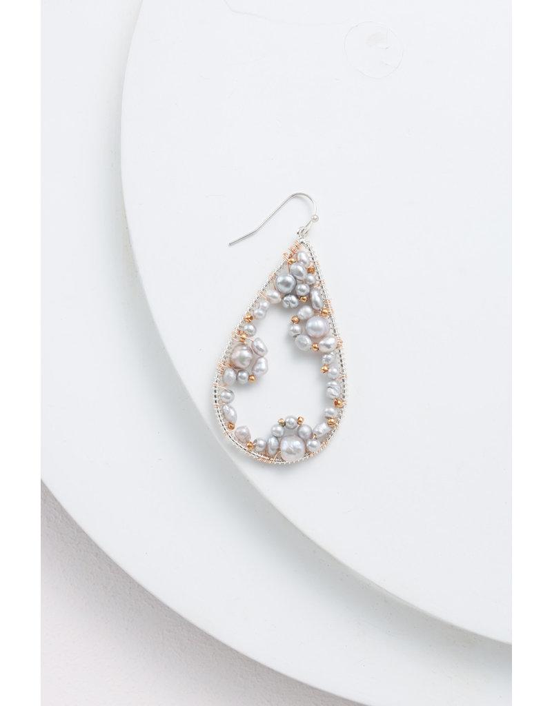 Nakamol Two Tone Teardrop Earring w Grey Pearl Accents