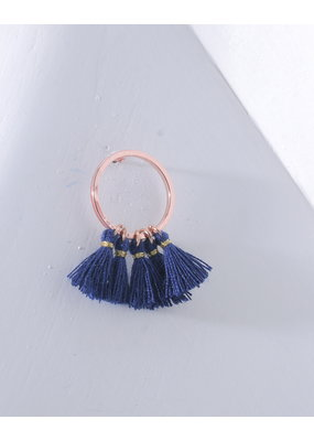 Nakamol Tiny Gold Hoop & Blue Tassel Earring