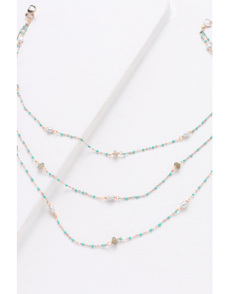 Nakamol Layered Green Turquoise & Pearl Necklace