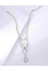 Nakamol Gold Layered Necklace w Pearl Beading & Moonstone Accent