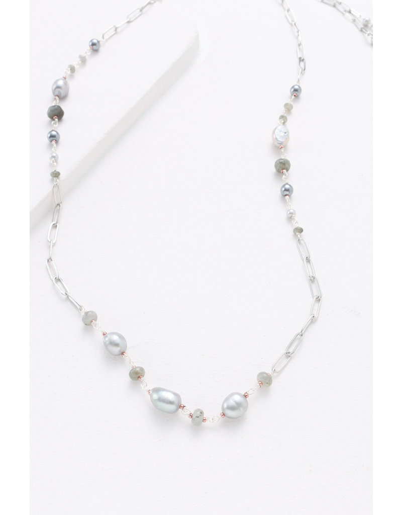 Nakamol Grey Pearl & Chain Linked Necklace