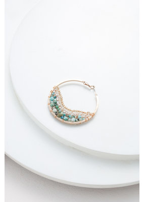 Nakamol Large Gold Hoop w Amazonite Beading & Chain