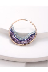 Nakamol Large Gold Hoop w Purple Mix Beading & Chain