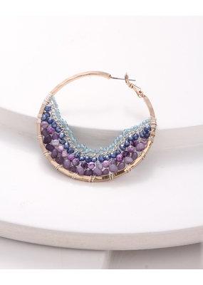 Nakamol Large Gold Hoop w Purple Mix Beading & Chain