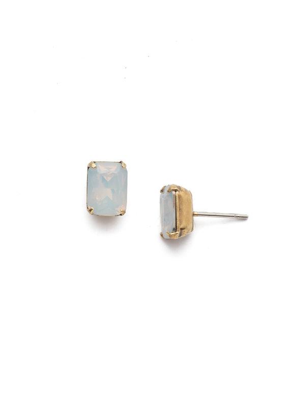 Sorrelli White Opal Emerald Cut Stud Earring