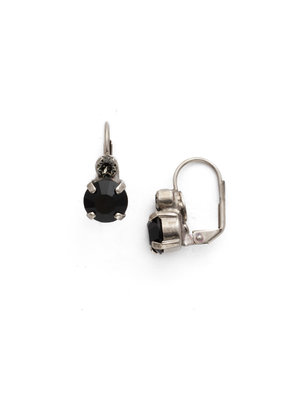 Sorrelli Round Crystal French Wire Earring in Antique Silver-tone Black Onyx