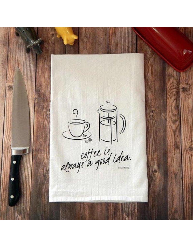 Green Bee Tea Towels Coffee Is Always A Good Idea Tea Towel