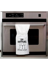Twisted Wares Sip Happens, Wine A Lot Kitchen Towel