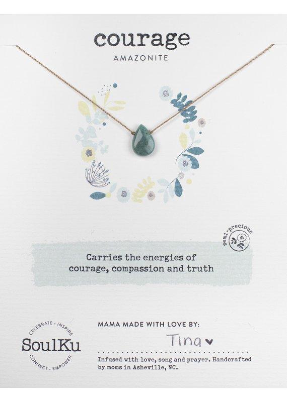 SoulKu Amazonite Gem Soul-Full of Light Courage Necklace