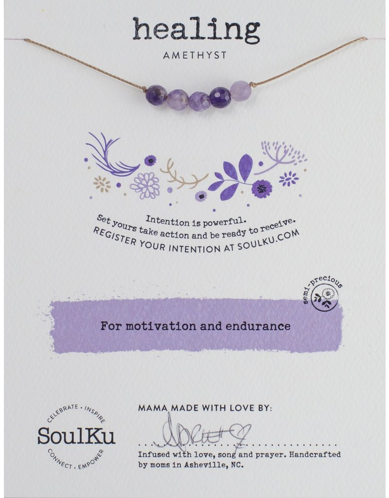 SoulKu Amethyst Intention Healing Necklace