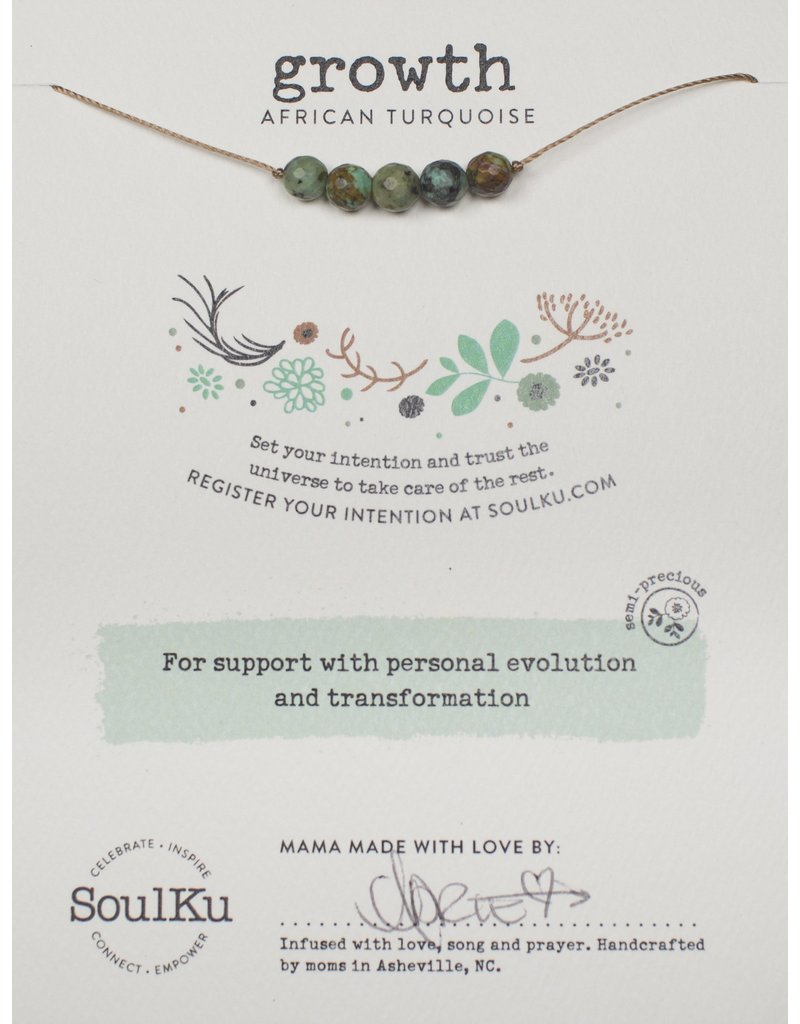SoulKu African Turquoise Intention Growth Necklace