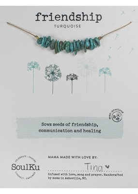 SoulKu Turquoise Gemstone Seed Friendship Necklace