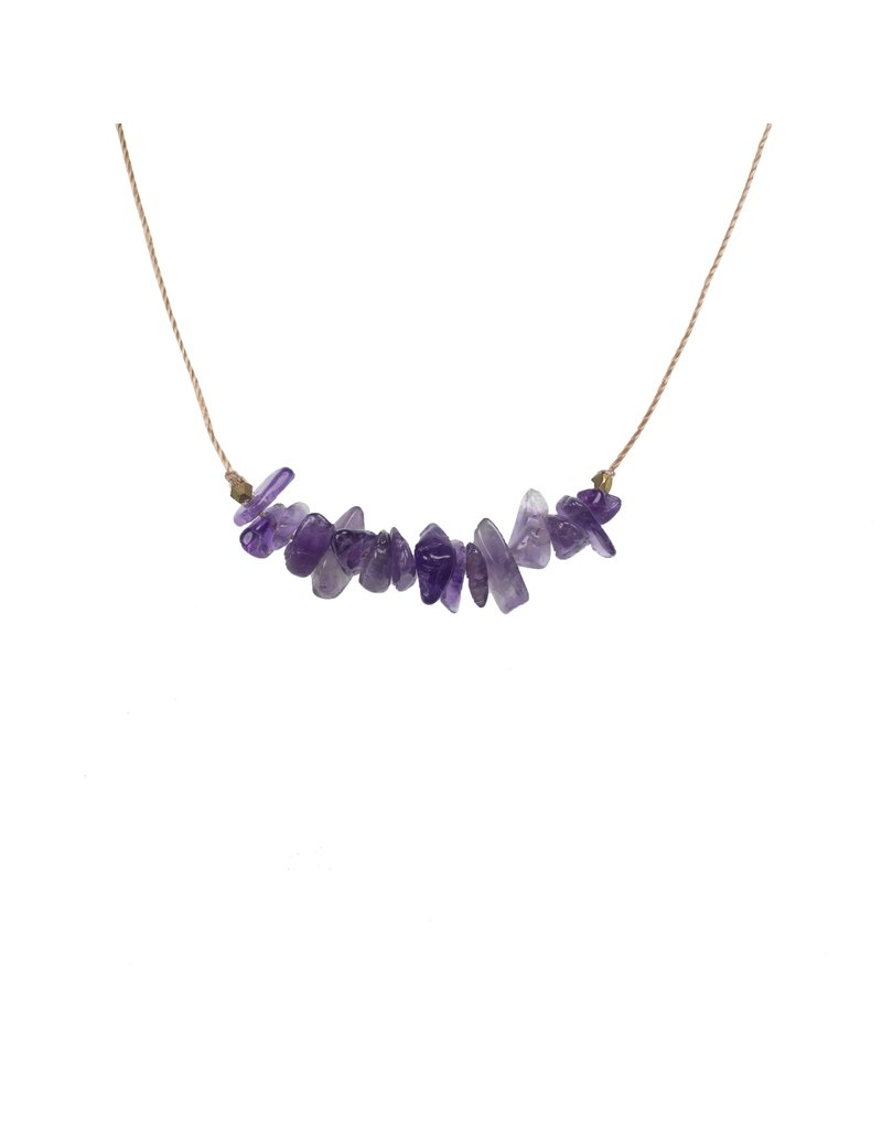 SoulKu Amethyst Gemstone Seed Healing Necklace
